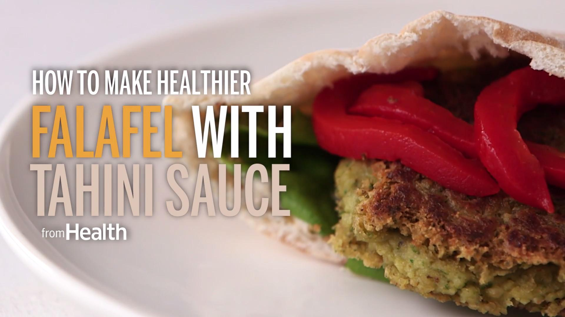 How to Make a Healthier Falafel Pita with Tahini Sauce