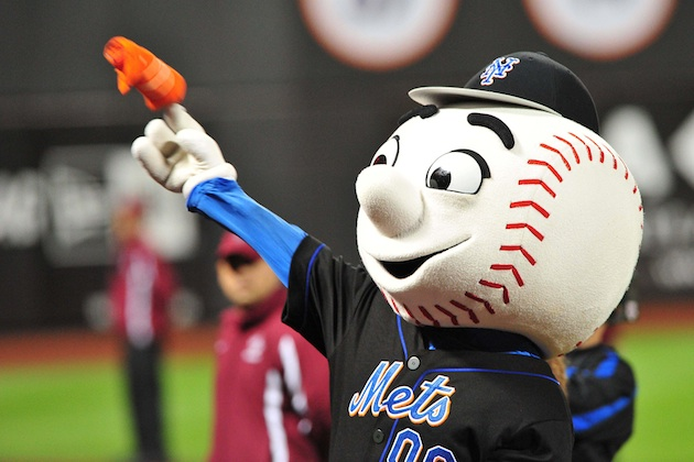It's possible Mr. Met will log more April innings than Johan Santana (US Presswire)