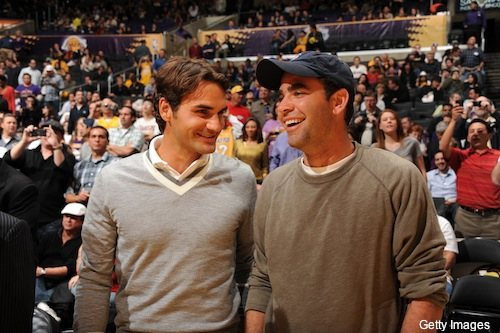 federer sampras lakers stand laughing