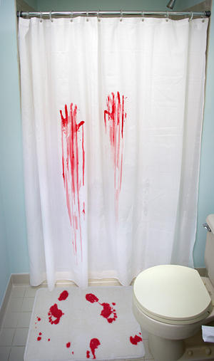 Then When Your Guests Need To Use The Bathroom Help Scare You Know What Out Of Them With Electronic Serial Killer Shower Curtain And Bath Mat