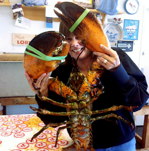 Jennifer Vargas holds up a freakishly large lobster that was saved from the kitchen. (Wildlife Conservation Society)