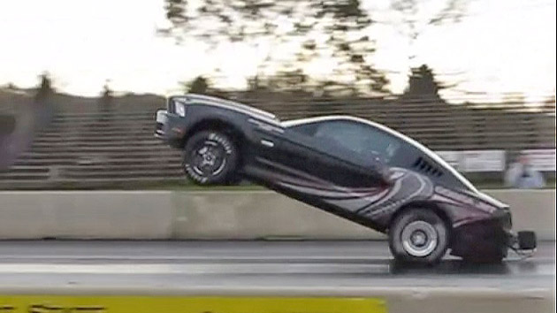2013 Mustang Cobra Jet dragster pops impressive wheelie, then crash ...