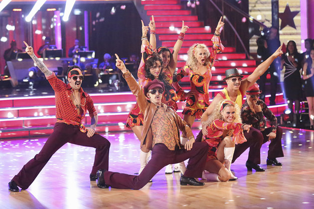"Yahoo! TV/Adam Taylor/ABC - Eight remaining couples hit the dance floor and paid tribute to singer, songwriter and legend Stevie Wonder, on ""Dancing with the Stars."""