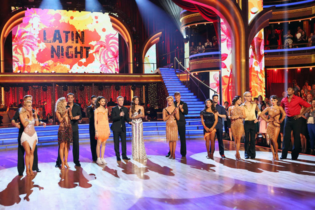 Seven remaining couples took to the ballroom floor and performed to a Latin-inspired hit, Monday, April 29, on ABC. (Yahoo! TV/Adam Taylor/ABC)
