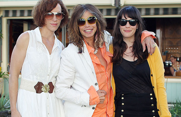 Steven Tyler celebrated with fiancee Erin Brady (left) and daughter Liv. (Shook/Sweedler/Splash News)