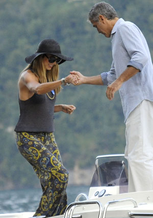 George Clooney and Stacy Keibler on August 9 (E-pics/Splash News)