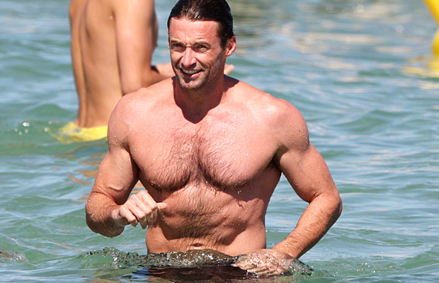 Hugh Jackman shirtless. (Splash News)