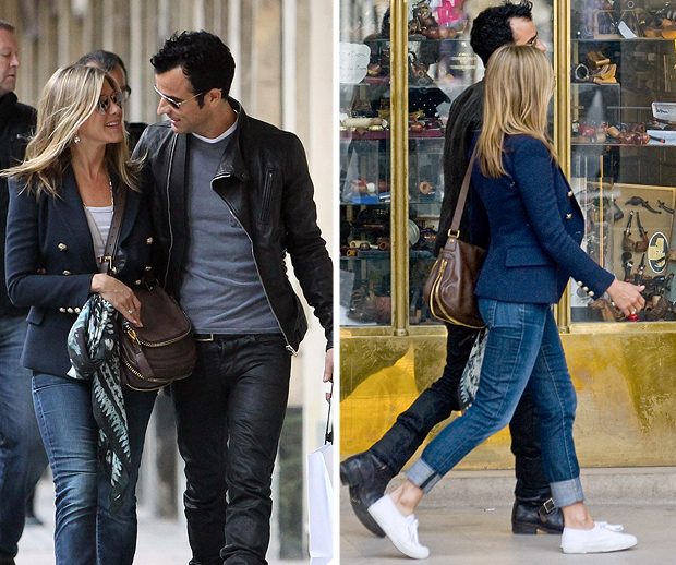 Aniston and Theroux have been sightseeing in Paris and appear to be perfectly in step (SplashNews/INFPhoto.com)