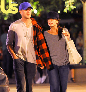 Ryan Gosling and Eva Mendes were snapped holding hands at Disneyland in Anaheim, California. - Splash News