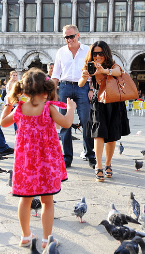Salma snapped a photo of daughter Valentina while in Venice Italy's St. Marks Square. - INFphoto.com