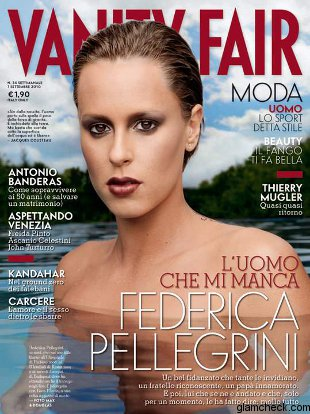 Federica Pellegrini has posed nude on the cover of Italy's Vanity Fair, ...