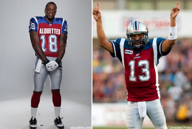Jamel Richardson (L) and Anthony Calvillo in the Als' new and old jerseys (respectively).