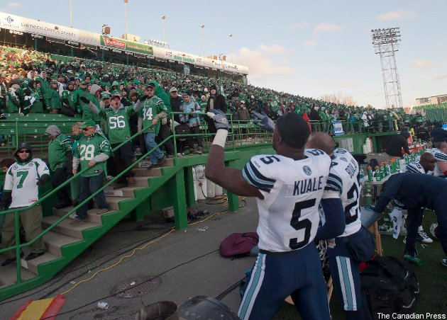 Ejiro Kuale jawed with Saskatchewan fans last year; might he jaw with Toronto ones this year?