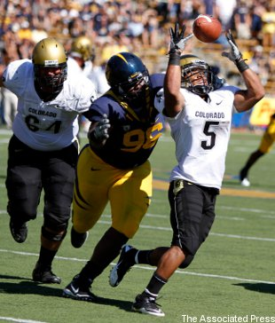 Cal defensive lineman Kendrick Payne (#96) chases down Colorado's Rodney Stewart in 2010.