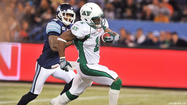 Saskatchewan RB Kory Sheets (1) ran over Toronto and earned a First Star nod.