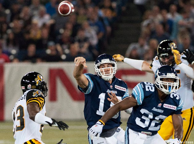 A strong passing performance from Ricky Ray (centre) was crucial to Toronto's win Friday.