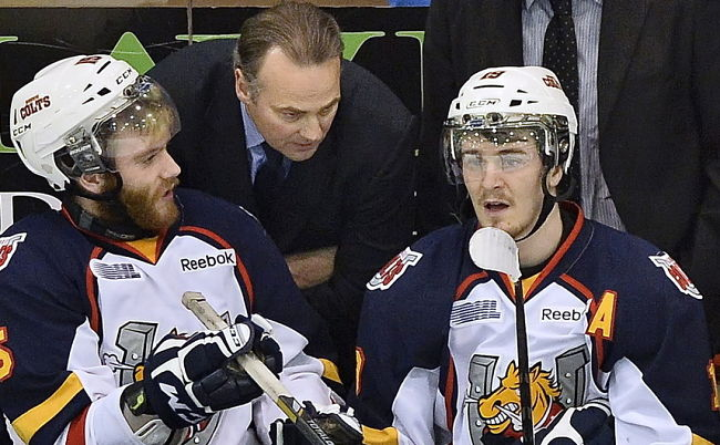 Anthony Camara (left) has been suspended twice during the playoffs (OHL Images)