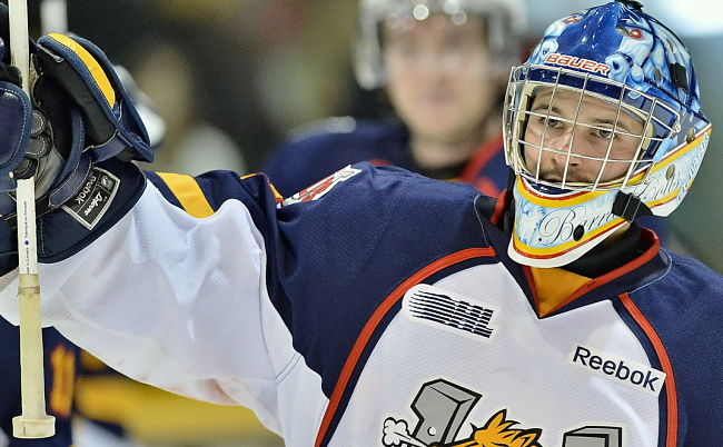 Mathias Niederberger has a .940 save percentage during the playoffs (OHL Images)