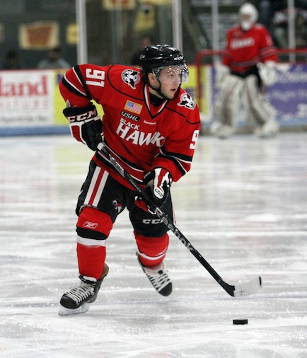 Taylor Cammarata led the USHL in scoring as a 17-year-old (Britta Lewis:Waterloo Black Hawks)