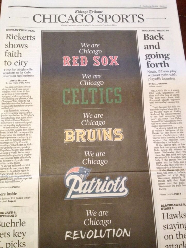 Chicago Tribune's sports page honors Boston