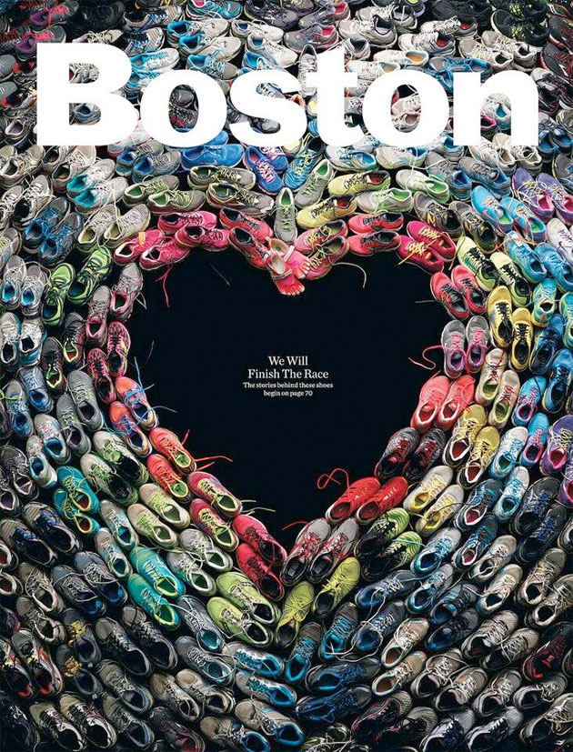 Boston Magazine marathon cover is an effective tribute to victims, runners, city