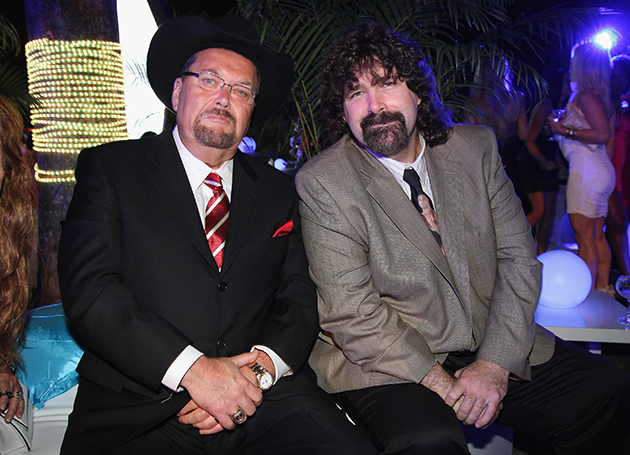 Jim Ross with Mick Foley in 2012. (Getty Images)