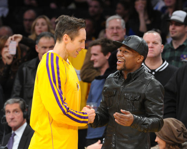Floyd Mayweather, hanging with Lakers guard Steve Nash, is bigger than big time. (Getty)