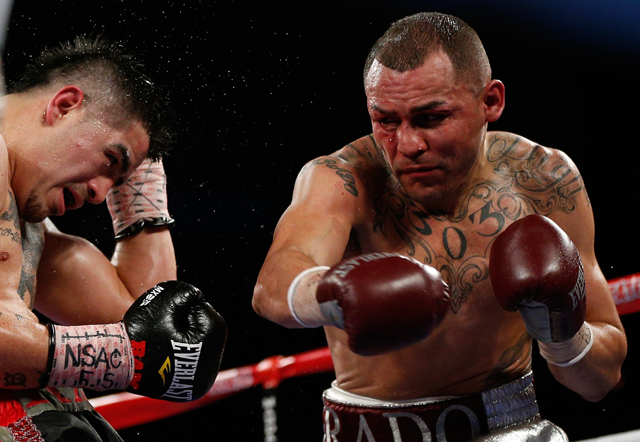 Mike Alvarado (R) will defend his super lightweight title against Ruslan Provodnikov on Oct. 19 (Getty Images)