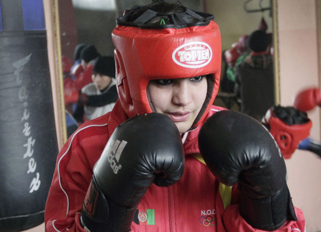 Sadaf Rahimi is a 17-year-old Afghan boxer (AP)