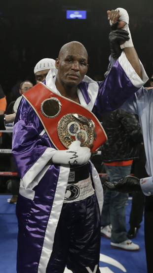Hopkins with his IBF belt after beating Tavoris Cloud on March 9 (AP)
