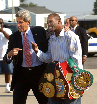 Hopkins with then Democratic presidential candidate John Kerry in 2004 (AP)