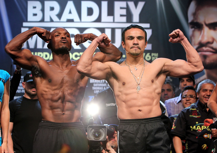WBO champion Tim Bradley (L) weighed 146. Juan Manuel Marquez came in at 144.5 (Chris Farina)