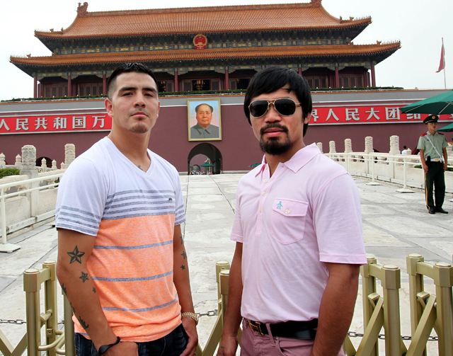 Brandon Rios (L) and Manny Pacquiao pose in Tiananmen Square (Chris Farina/Top Rank)