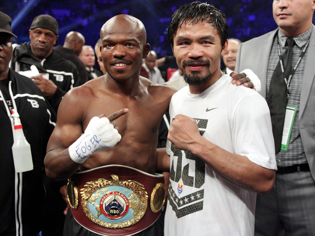 Timothy Bradley and Manny Pacquiao pose after their fight (Chris Farina/Top Rank)