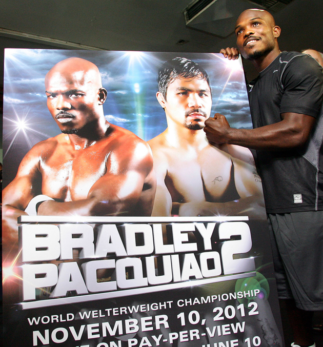 "Timothy Bradley made a poster touting his ""rematch"" with Manny Pacquiao (Chris Farina/Top Rank)"