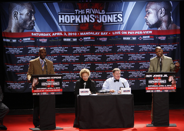 "Hopkins (L) at a ""debate"" with Roy Jones Jr. (AP)"