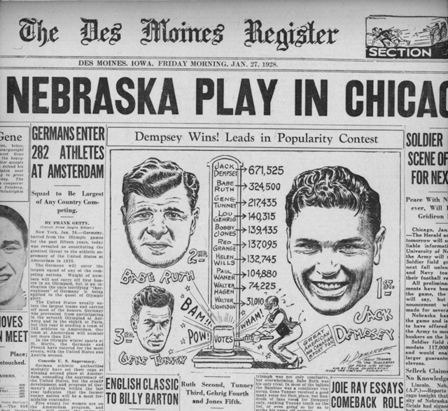The front page of the Des Moines Register on Jan. 27, 1928 (Courtesy Steve Lott)