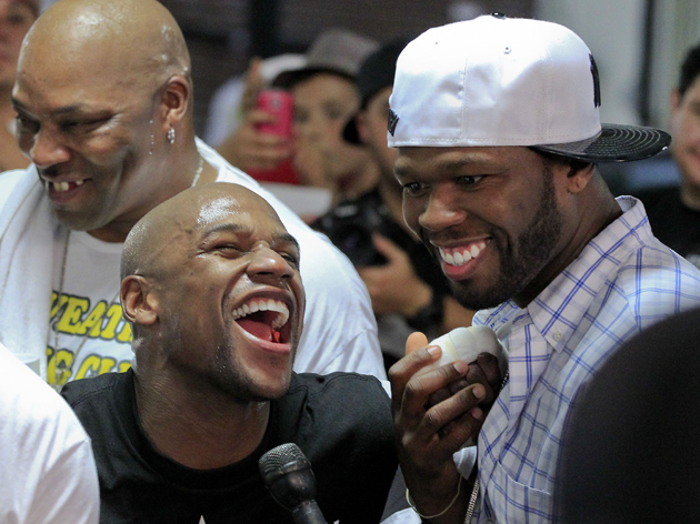 Floyd Mayweather (L) may soon have a new promoter, his buddy, rapper 50 Cent (AP)
