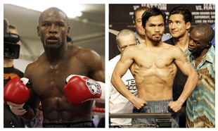 Floyd Mayweather (L) owes Manny Pacquiao $113,580.50 in attorney's fees (AP)