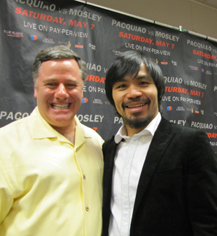 Publicist Fred Sternburg (L) and Manny Pacquiao (Kevin Iole/Yahoo Sports)