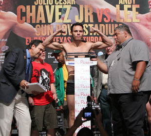 Champion Julio Cesar Chavez Jr. weighs in at 159 (Chris Farina/Top Rank)