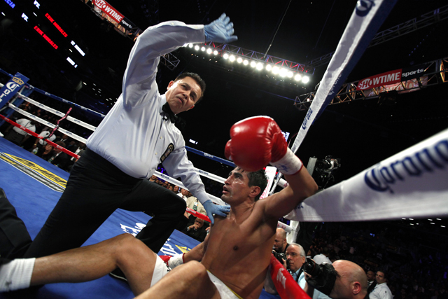 Showtime hit a peak of 729,000 viewers to see Erik Morales get knocked out by Danny Garcia (AP)