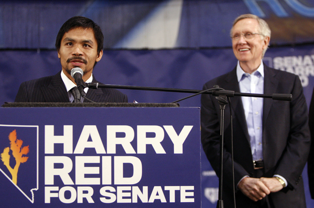 Manny Pacquiao campaigns in 2010 for Sen. Harry Reid (D-Nev.) (AP)