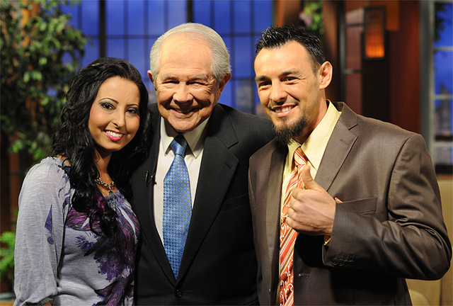 "Robert Guerrero (R) and wife Casey with ""700 Club"" host Pat Robertson (Robert Boag/Hoganphotos)"