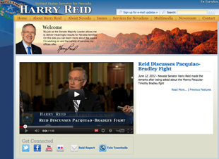 The lead page on Sen. Harry Reid's website on June 14 (http://www.reid.senate.gov/)