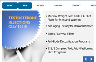 Advertisement for testosterone shots from the Las Vegas Health Center's web page