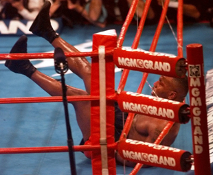 Mike Tyson floored by Evander Holyfield (AP)