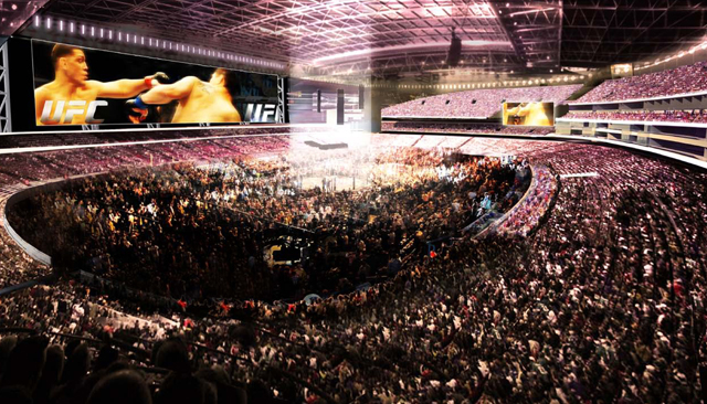 An artist's rendering of UNLV's proposed stadium set up for a UFC fight (UNLV Now)