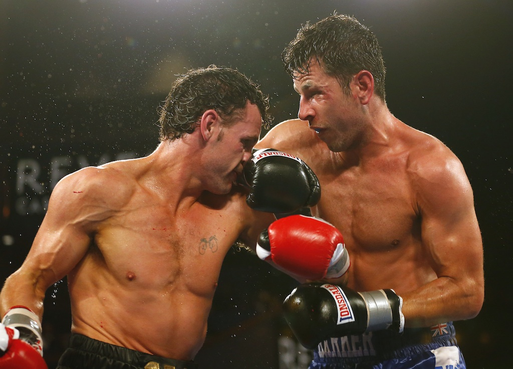 Darren Barker, right, and Daniel Geale stood toe-to-toe for 12 rounds Saturday night. (Getty Images)