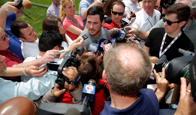 Alongside balding reporters, Amendola is the center of attention in Foxboro. (USAT)